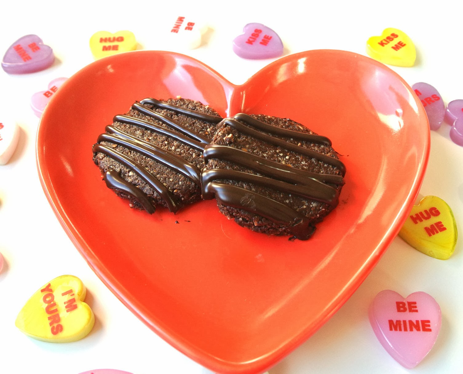 healthy double chocolate valentines day cookies