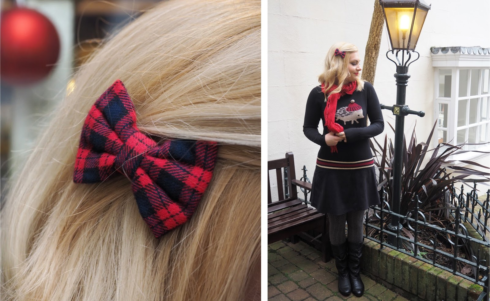 Outfit: Wrapped In Red, Accessorize Plaid Hairbow | Katie Kirk Loves