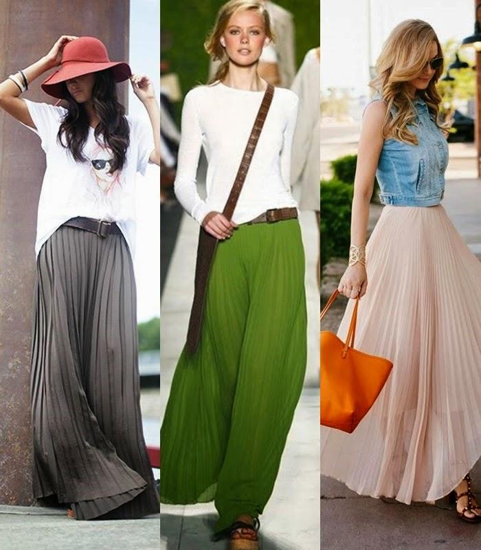 Moda - Maxi-saia plissada tendência primavera-verão 2015