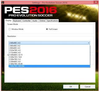 Cara seting Resolusi Full HD (1920x1080p) Game PES 2016 Terbaru