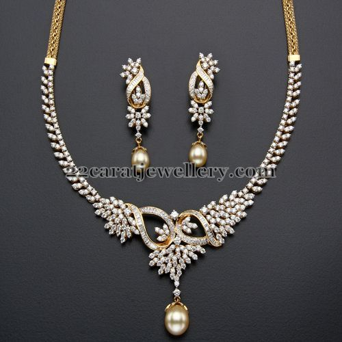 4 Lakhs Diamond set with Earrings - Jewellery Designs