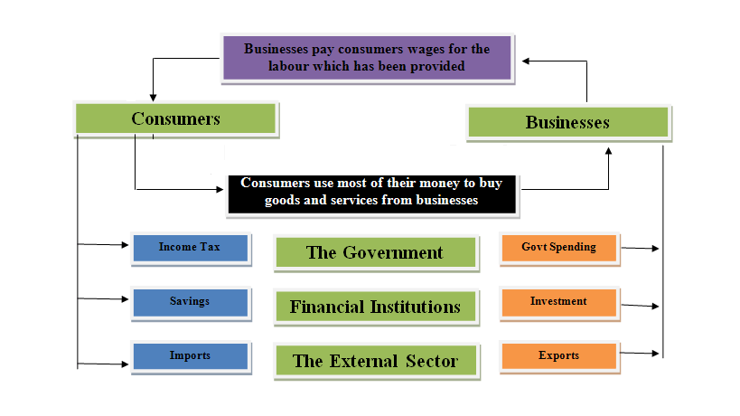 five sector circular flow of income Circular flow of income in a two-sector economy (saving economy): in a two-sector macro-economy, if there is saving by the household sector out of its income, the goods of the business sector will remain unsold by the amount of savings.