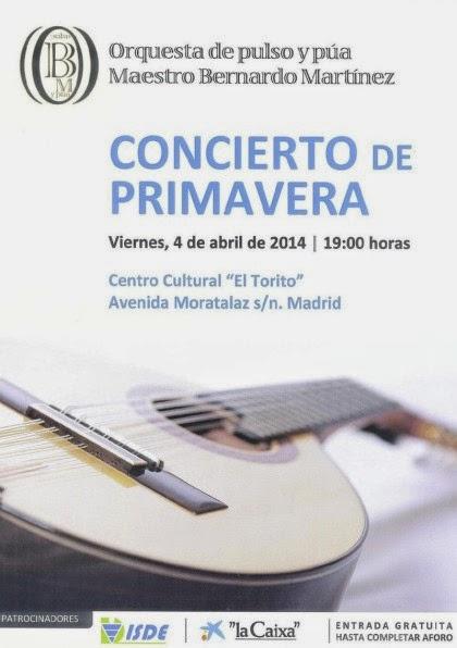 Cartel del Concierto de Primavera de la Orquesta Pulso y Púa Maestro Bernardo Martínez.