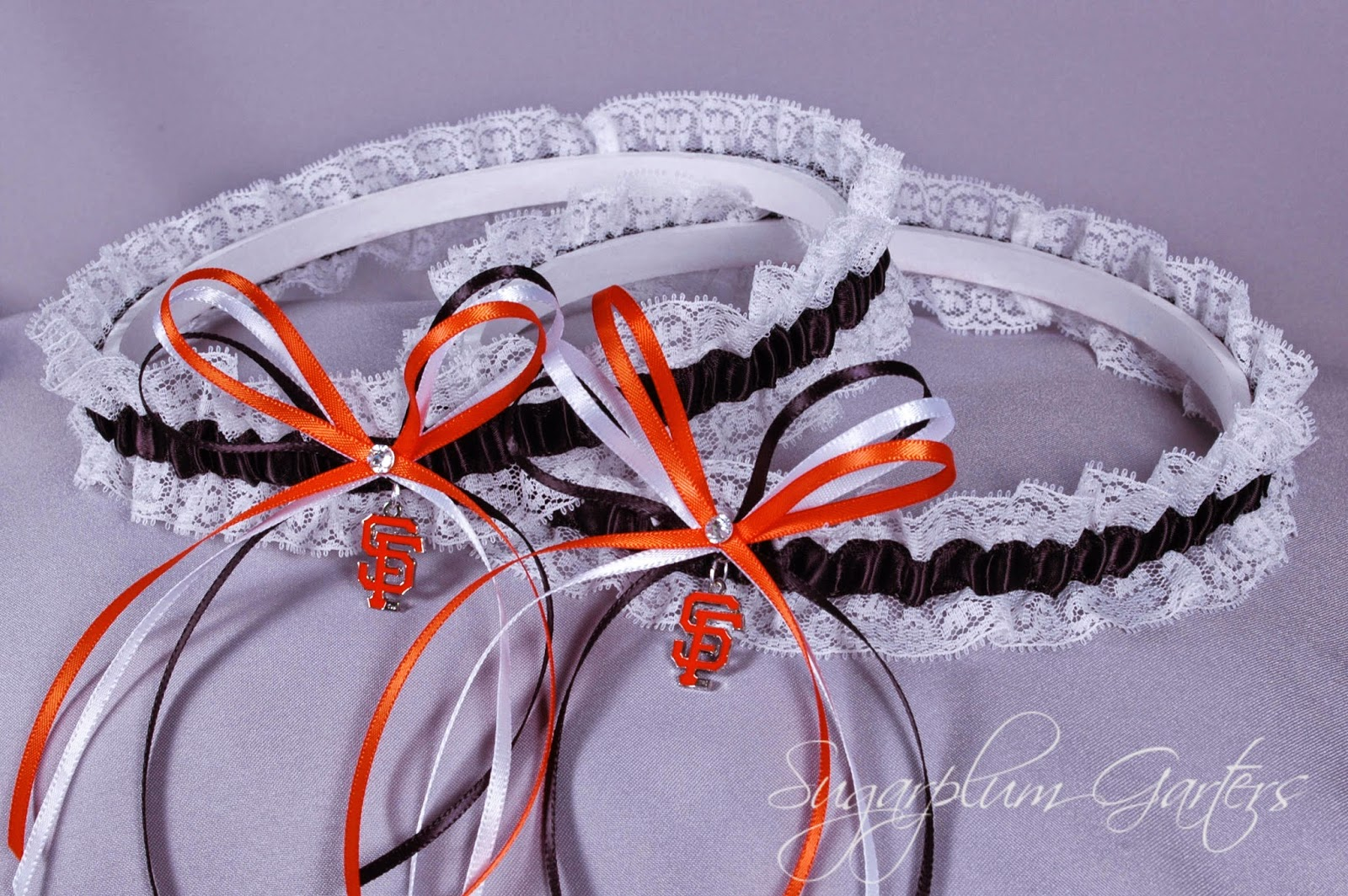 San Francisco Giants Lace Wedding Garter Set by Sugarplum Garters