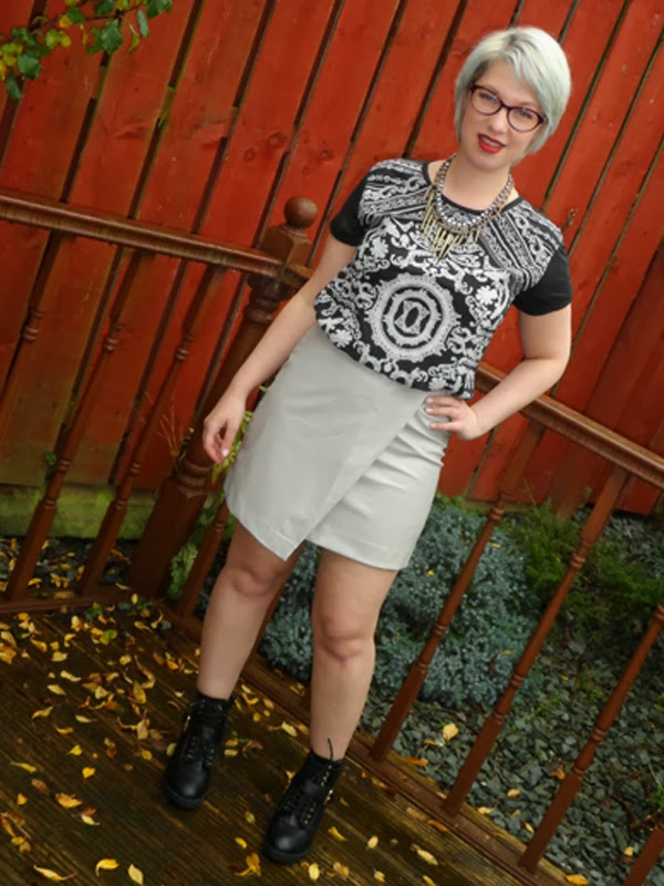 Wrap Over Faux Leather Skirt and Baroque Tee