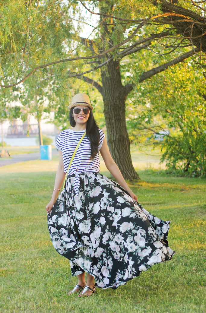 Floral maxi skirt outfits, floral print long skirt, zara striped top, how to mix floral print and stripes