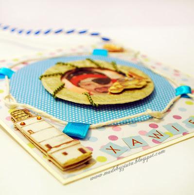 scrapbooking kartka dla chłopczyka zawieszka urodziny card making kartki okolicznościowe barbara wójcik