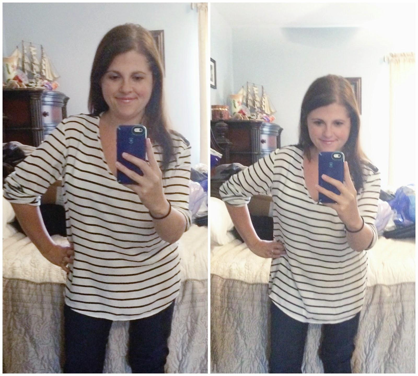 #stitchfix Fun2Fun Sheridan Striped V-Neck Tab Sleeve Blouse