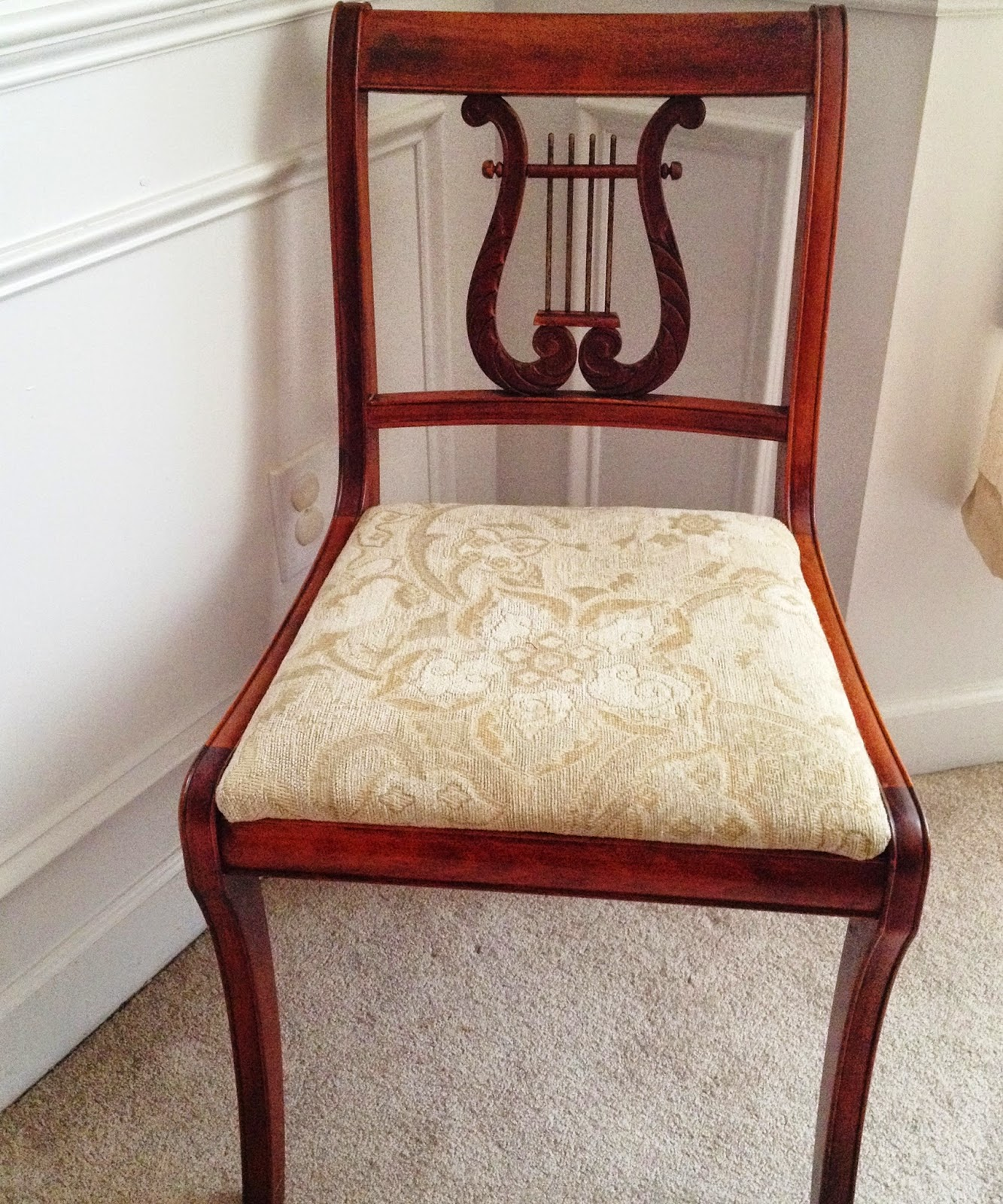Lyre Back Chair Reupholstered