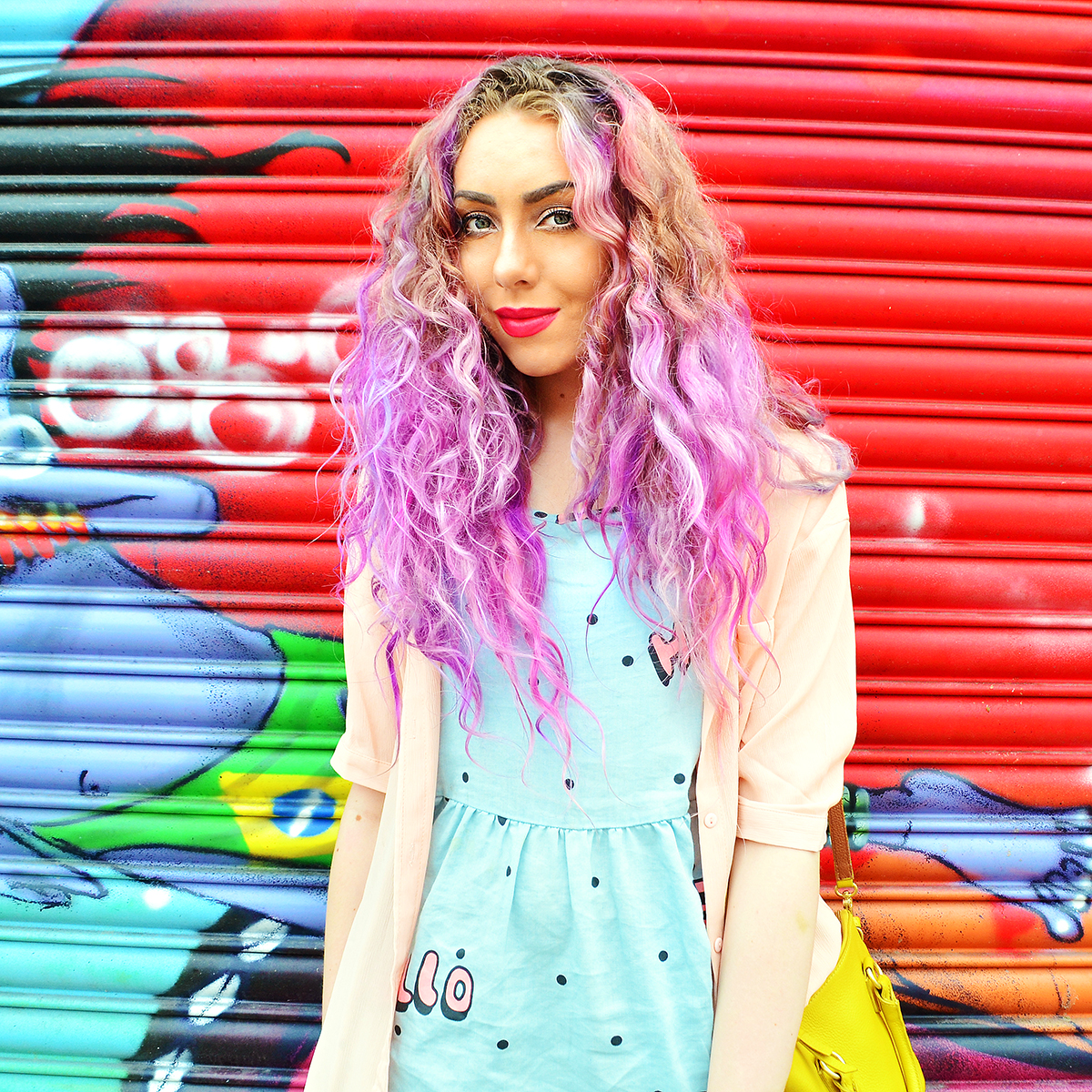 Purple Haired Blogger Stephi LaReine wearing Lazy Oafs Hello Dress
