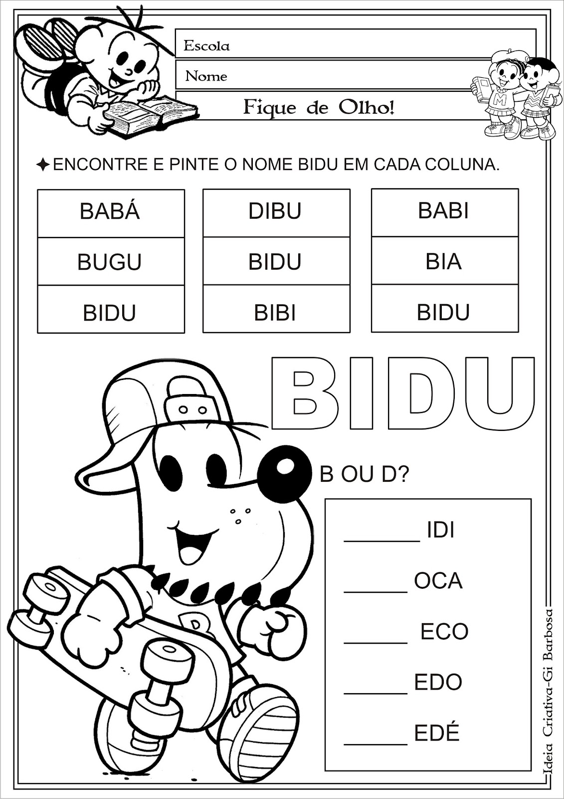 Atividade Letras B e D Turma da Mônica