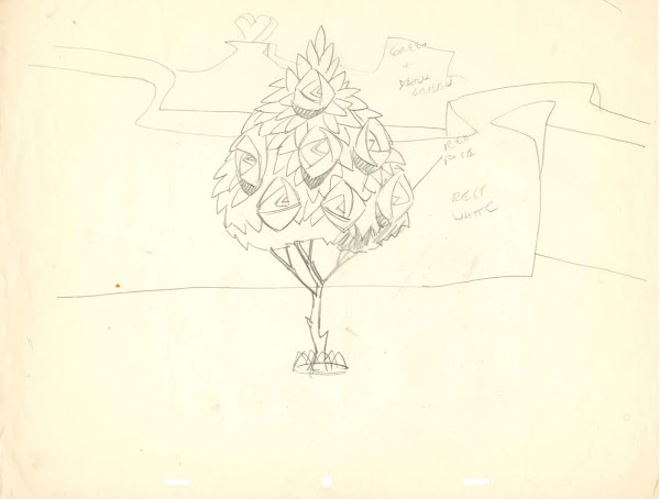 Alice in Wonderland Rose Tree Drawings