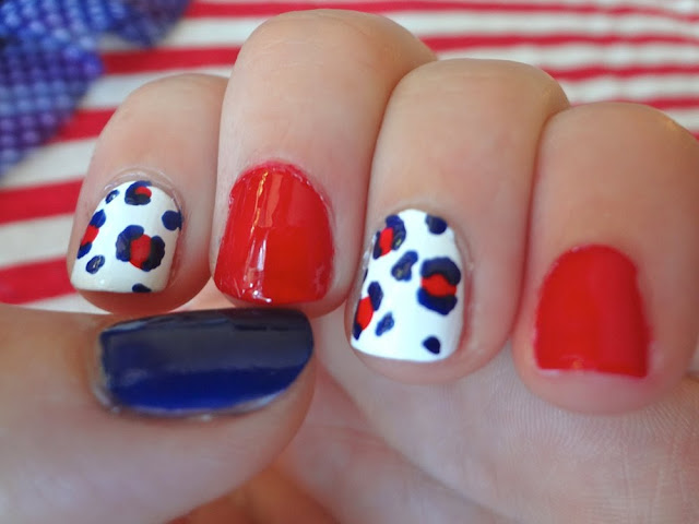 red white and blue leopard print nails