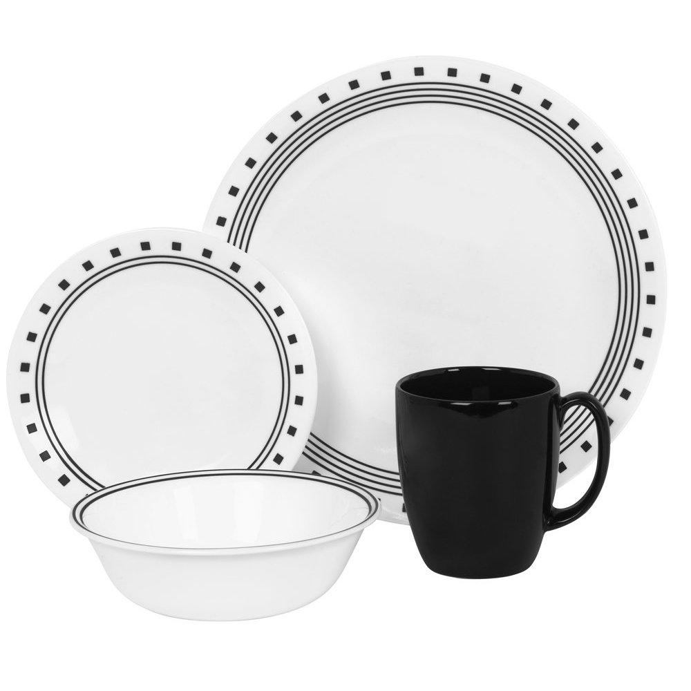 corelle livingware 16 piece dinnerware set city block