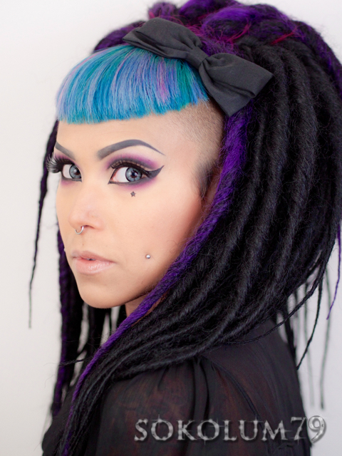 Purple cut crease and synthetic dreads