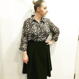 Millers leopard print blouse, black ASOS midi skirt