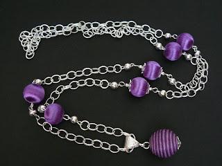biżuteria z półfabrykatów - oplecione na fioletowo (naszyjnik)