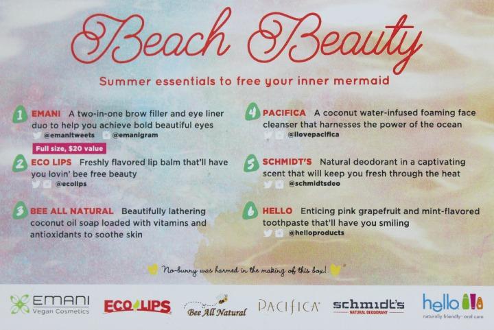Vegan Cuts Beauty Box: June 2015 info card back