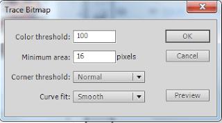 Setelah itu klik pada image mario tersebut, menggunakan selection tool, pilih modify > bitmap > pilih trace bitmap, atur settingan trace bitmap nya, seperti gambar dibawah ini.
