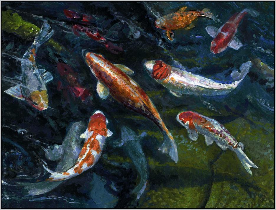 Paul wolber art studio emerald rhythms koi pond on maui for Koi pond color