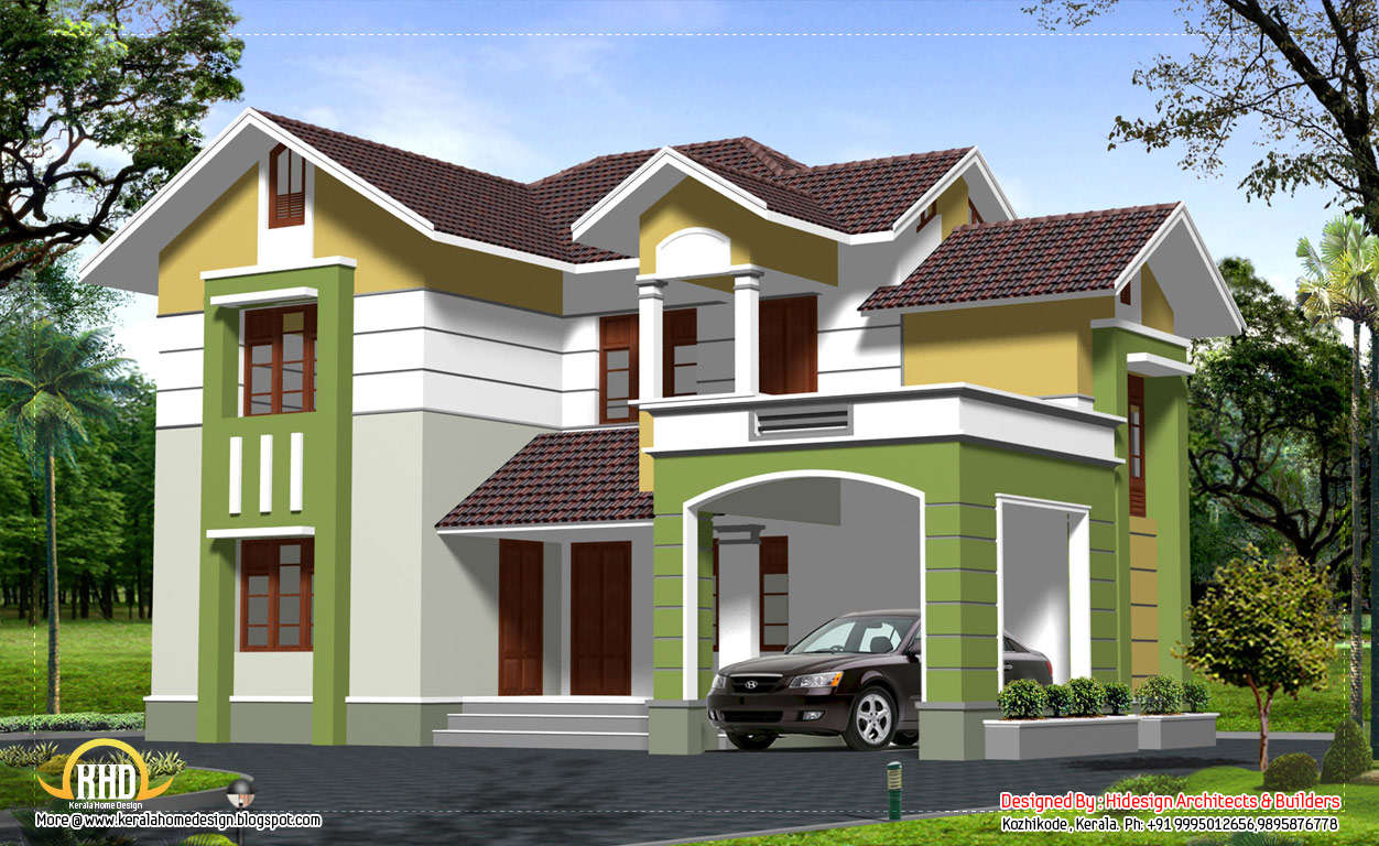 Traditional contemporary style 2 story home design 2537 for Two storey house plans in kerala