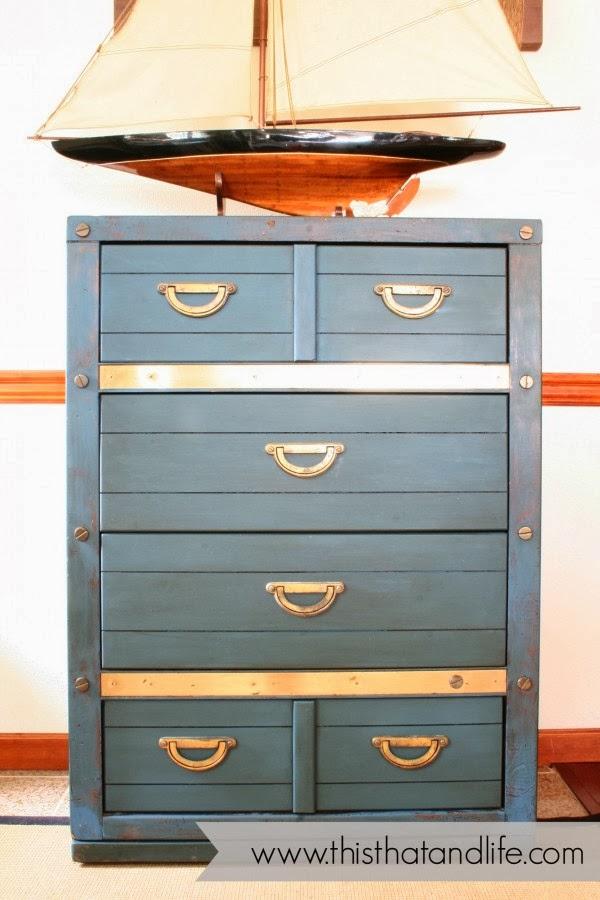 http://www.thisthatandlife.com/2014/01/diy-blue-brass-dresser-makeover/
