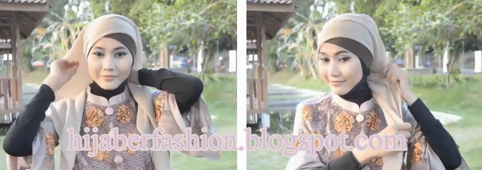 Bentuk jilbab paris menjadi segitiga, kenakan jilbab dengan sisi