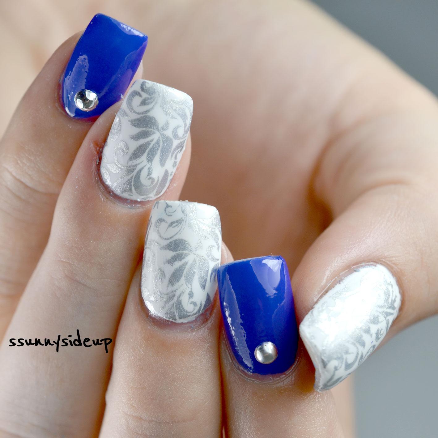 ssunnysideup elegant blue white and silver nails
