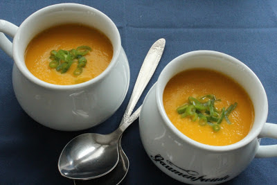 Swede and carrot soup seasoned with lime and lemongrass