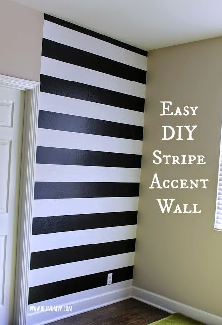 Being mvp chasing paper black white stripe accent - Black and white striped wall ...