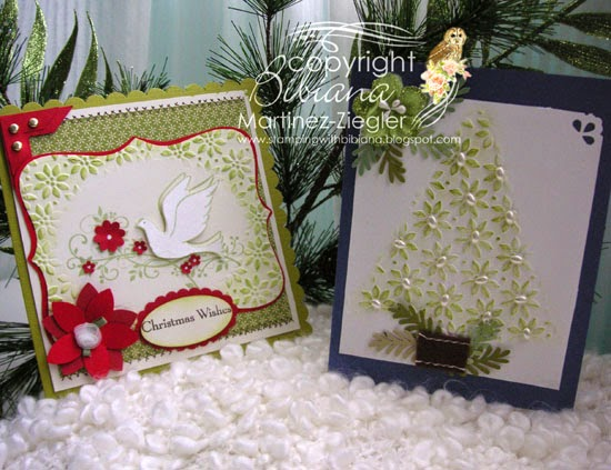 DIY embossing diffusers 2 christmas cards front view