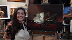 Classical painting student Rebecca and her first master copy