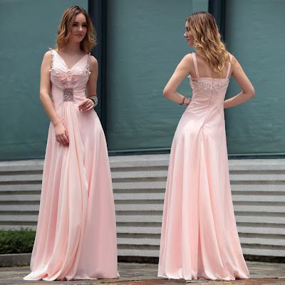 Light Pink V-Neck Floor Length Dress