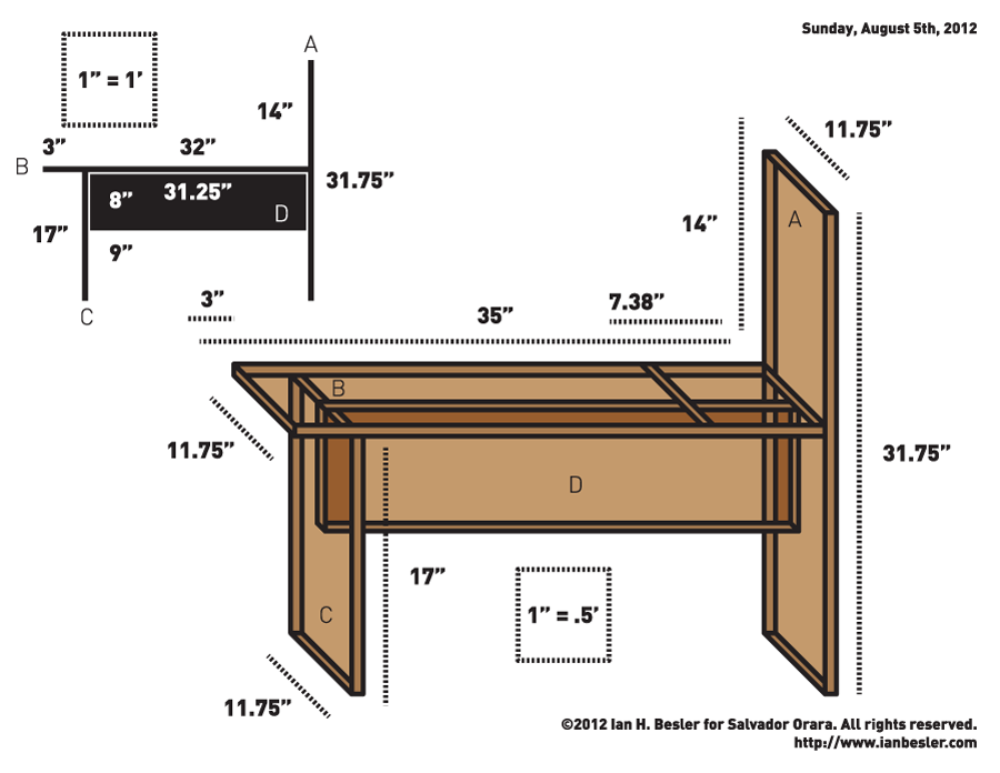 Drawing bench diagram tidowtd pallets pinterest for Farm table plans drawings