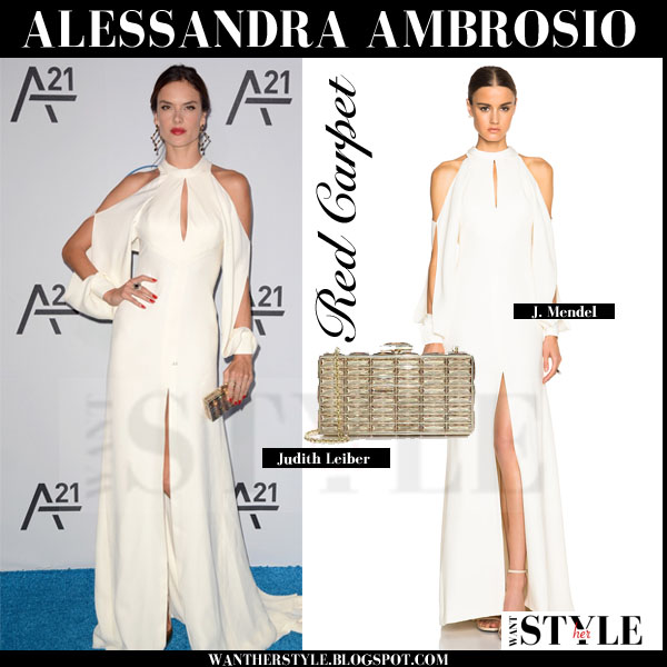 Alessandra Ambrosio in white high neck long gown j. mendel with gold judith leiber clutch red carpet outfit