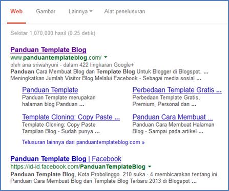 Minus Optimasi, Blog Ini Mendapatkan Sitelinks Google