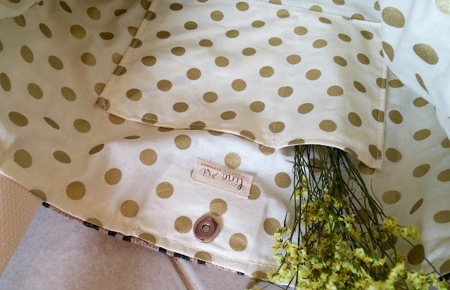 Bold Gold Polka Dot burlap tote bag - interior view -  lina and vi plymouth mi