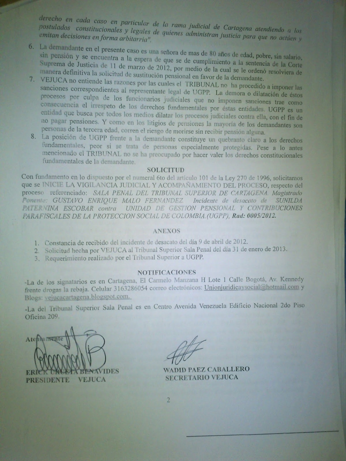 Solicitud Vigilancia Judicial VEJUCA | VEEDURIA JUDICIAL DE ...