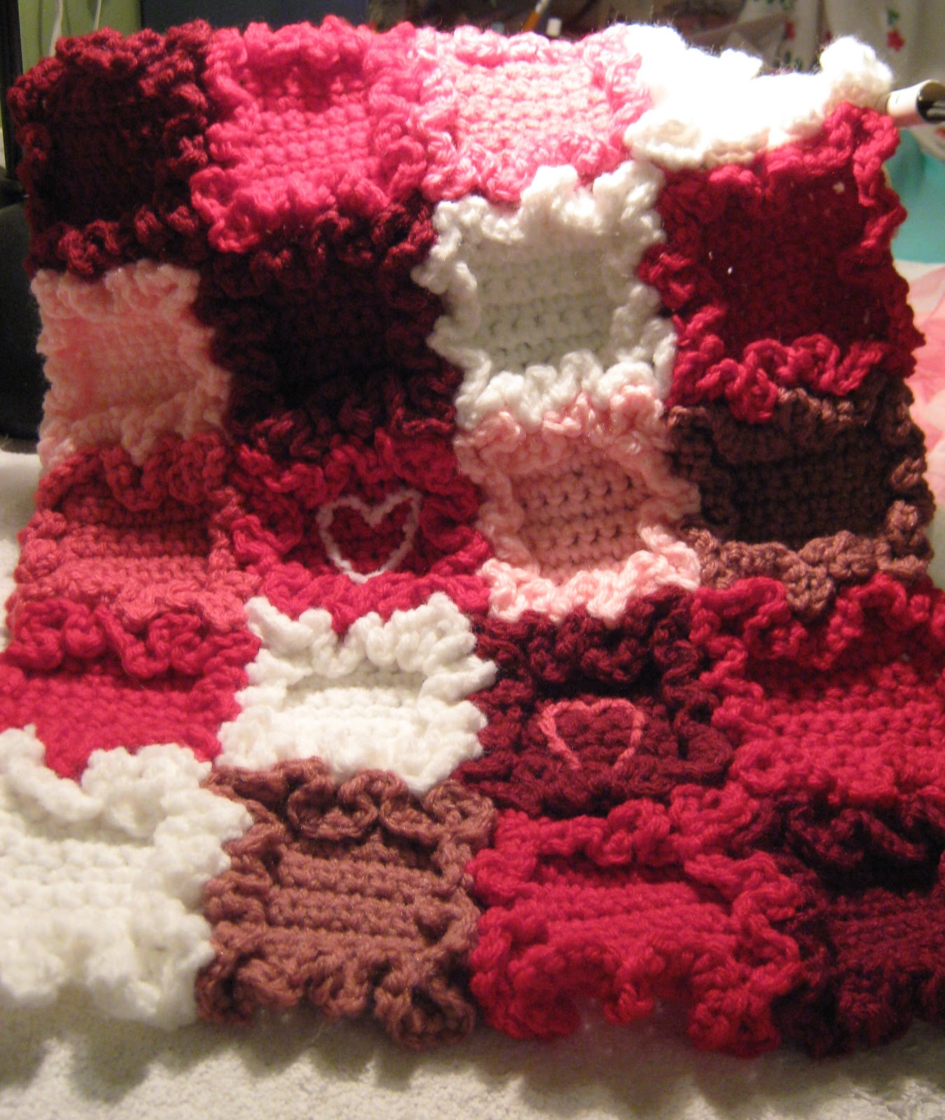 Erndales N More Tiny Hearts Doll Blanket Free Pattern