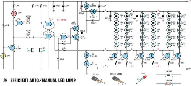 30 White LEDs Driver Circuit Diagram