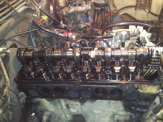 Removed cylinder head valve cover on engine