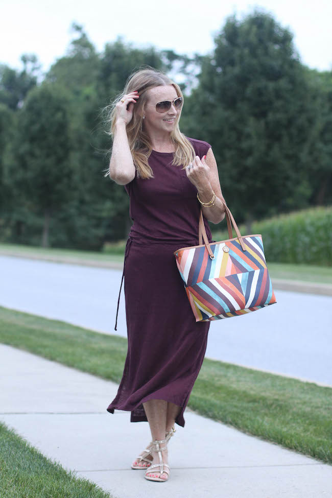 ray ban sunglasses, gap dress, tory burch handbag, kate spade sandals
