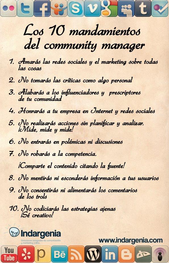 Infograf a con los 10 mandamientos del community manager curioseando - Los 10 locos mandamientos ...