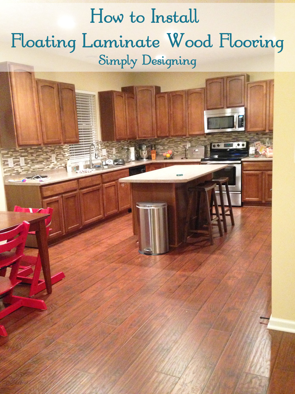 how to install floating laminate wood flooring diy homeimprovement flooring simply - Laminate Flooring In A Kitchen