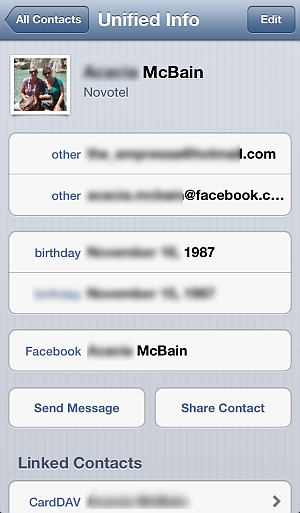 iphone contacts synced with facebook friends