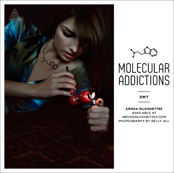 Aroha Silhouettes, Molecular Addictions, DMT Necklace, Dimethyltryptamine, Molecule, Chemistry, Jewellery, Spirit Molecule, Kelly Jill, Vincent Lee, Talysia Ayala, Anca Oala