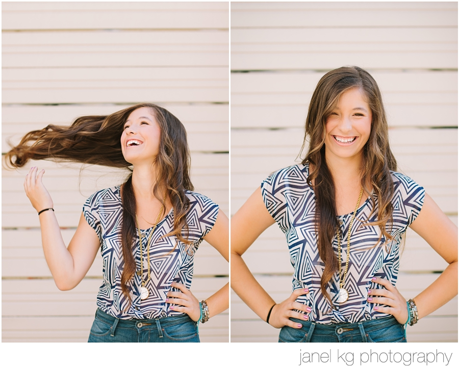 Elizabeth flipping her gorgeous long hair for her sacramento senior portrait shoot