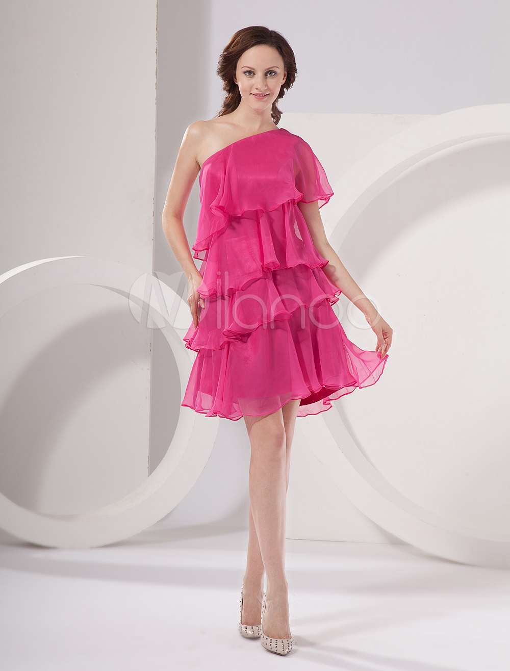 China Wholesale Homecoming Dress - A-line Fuchsia Chiffon Multi-Layered Homecoming Dress