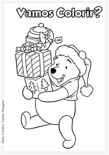 Pooh com presentes de Natal para colorir