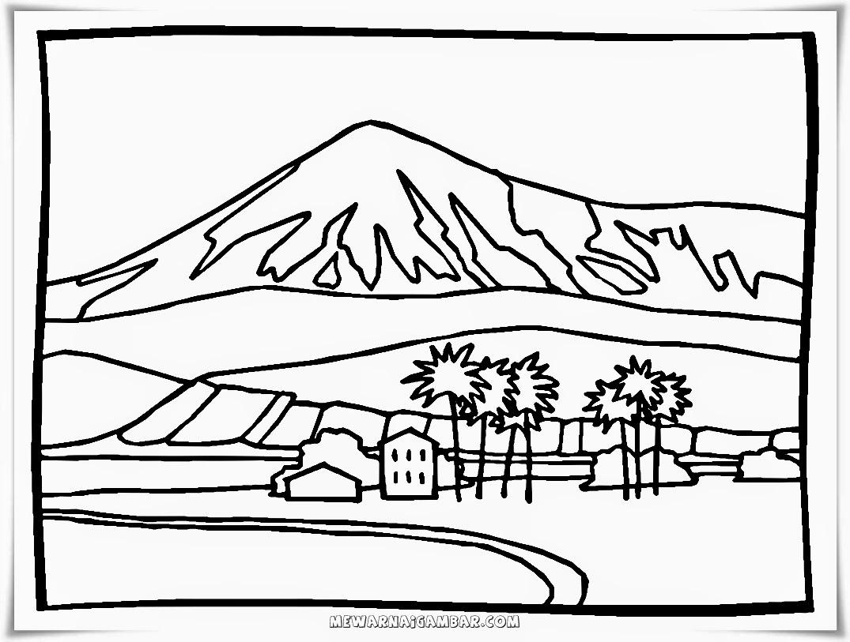 Mewarnai pemandangan desa di kaki gunung